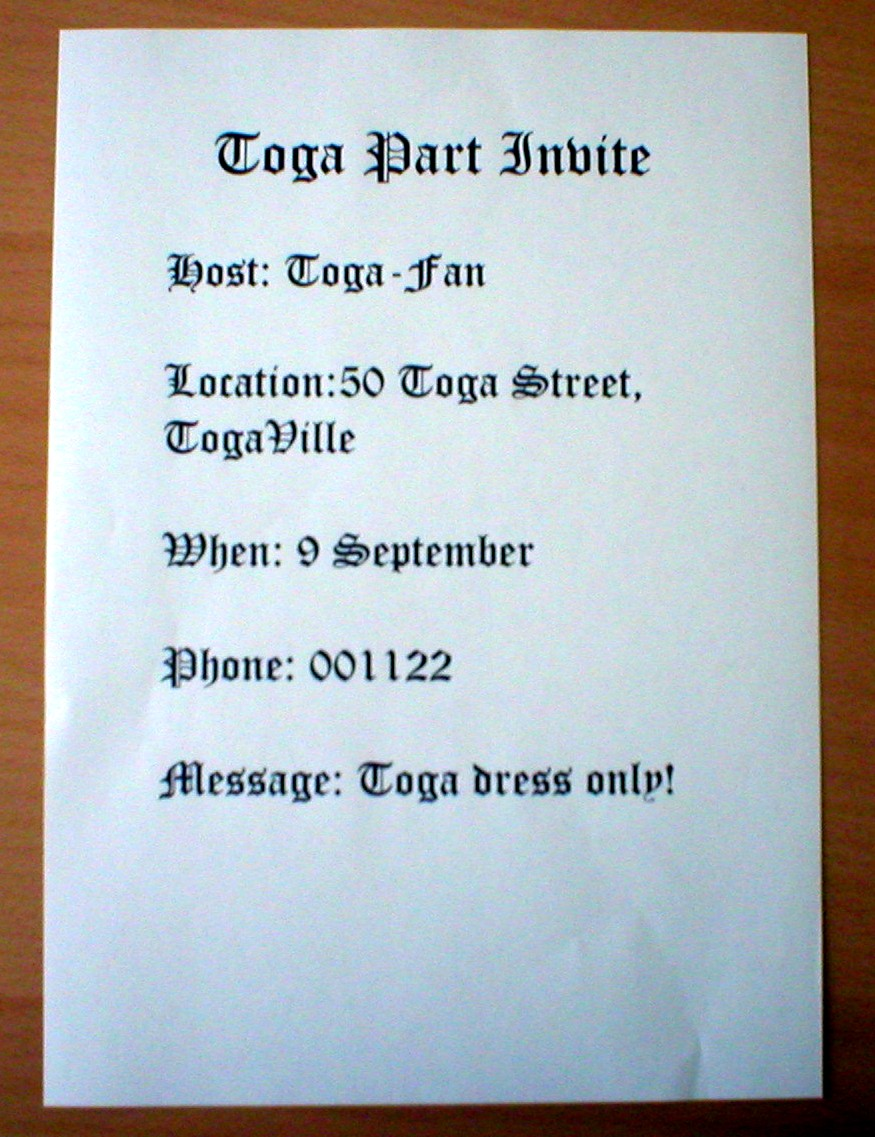 Toga Party Invitations oracle dba tester sample resume – Toga Party Invitations